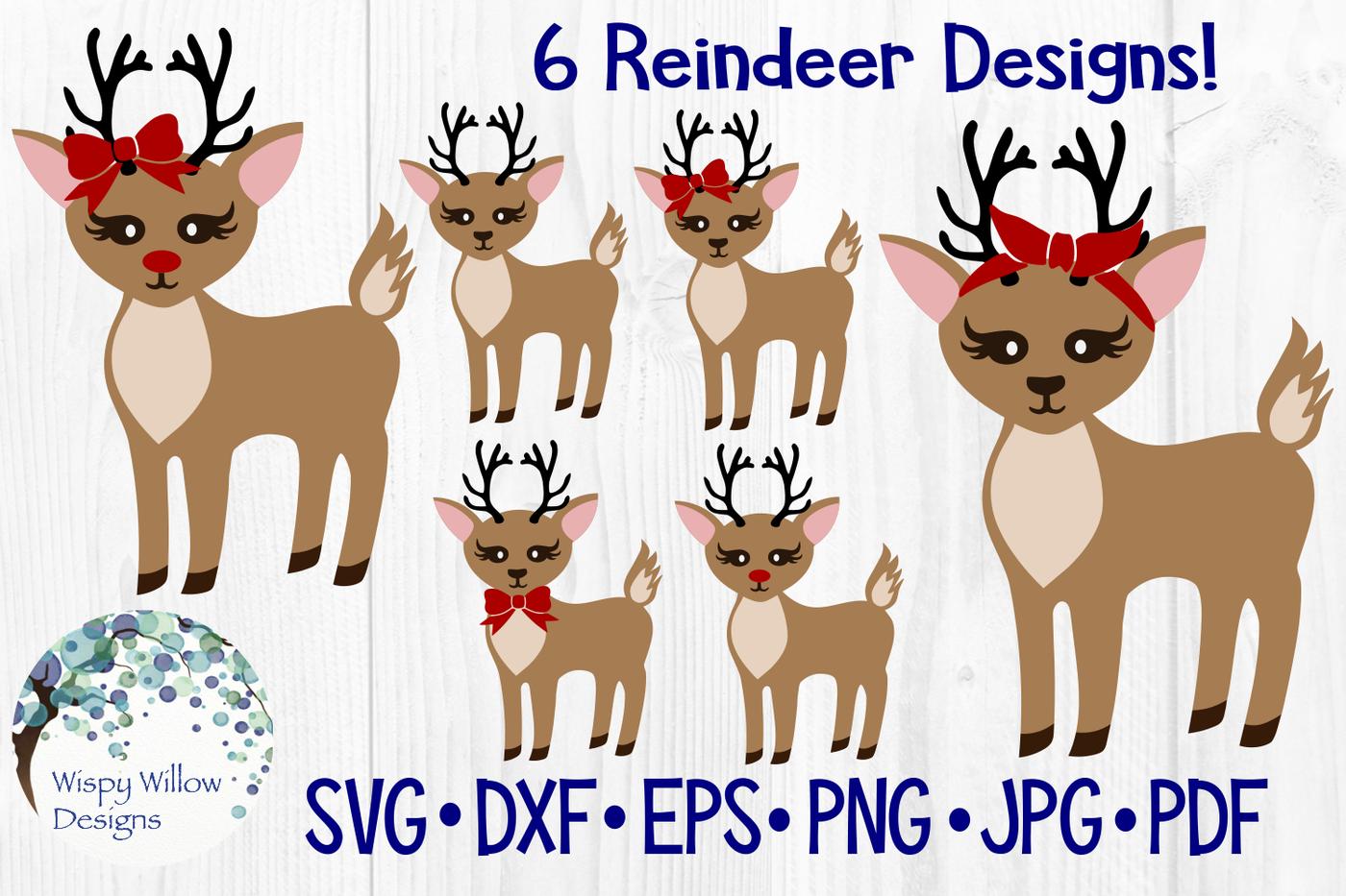 Girly Reindeer Bundle Rudolph Christmas Svg Dxf Eps Png Jpg Pdf