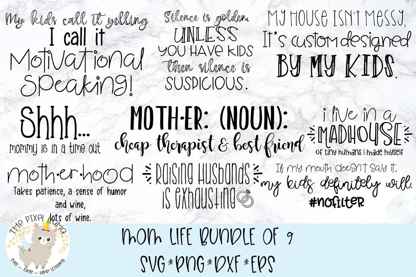 Mom Life Bundle 9 Svg Cut Files By The Pixel Llama Thehungryjpeg Com