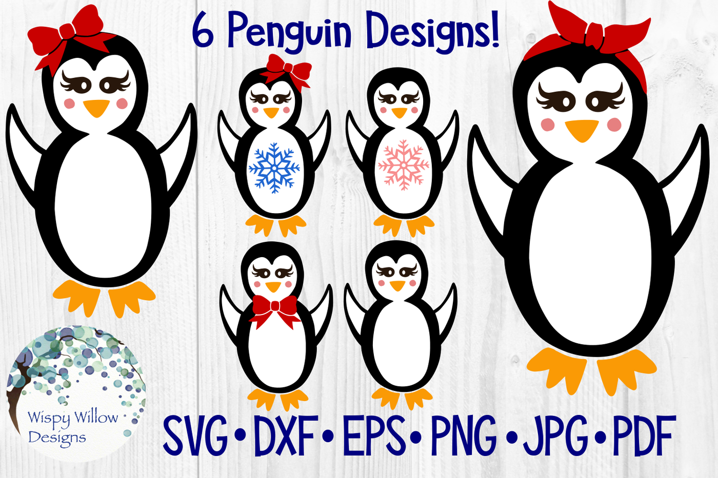 Girly Penguin Bundle Winter Christmas Svg Dxf Eps Png Jpg Pdf By