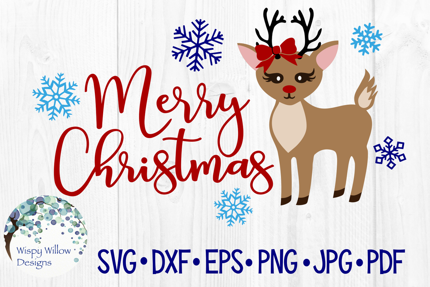 Merry Christmas Reindeer Holiday Rudolph Svg Dxf Eps Png Jpg