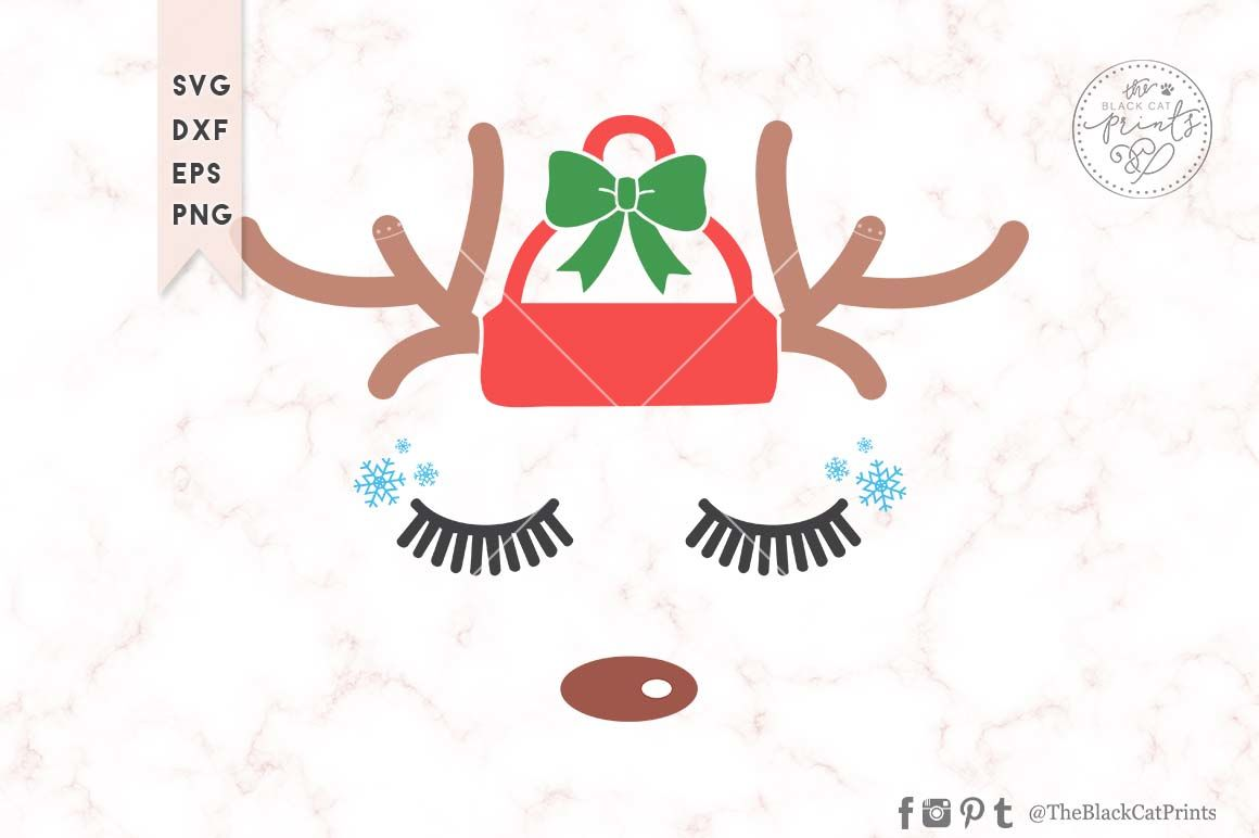 Christmas Reindeer Face Svg Dxf Eps Png By Theblackcatprints