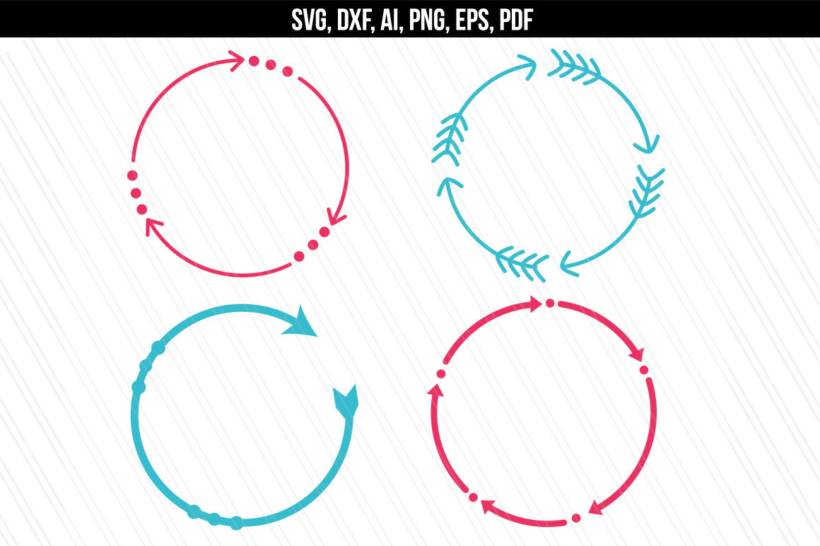 Circular Arrow Monogram Frames Eps Ai Pdf Svg Png By Aivosdesigns