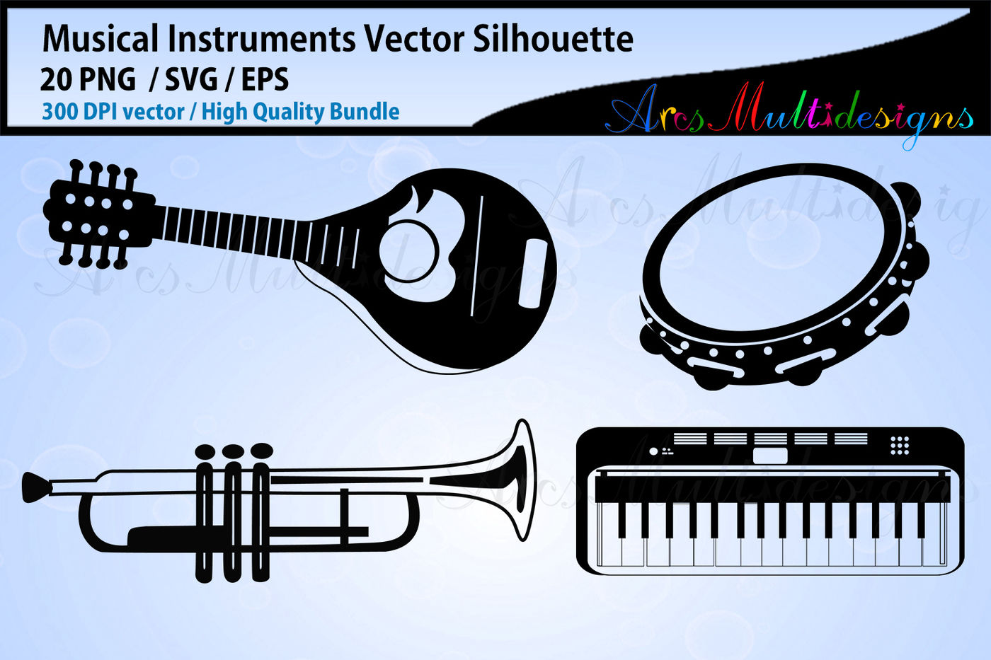 32 Musical Instruments SVG Silhouettes