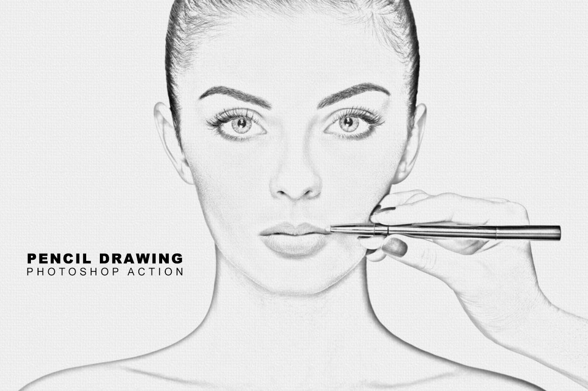 Pencil drawing photoshop action by teewinkle thehungryjpeg com
