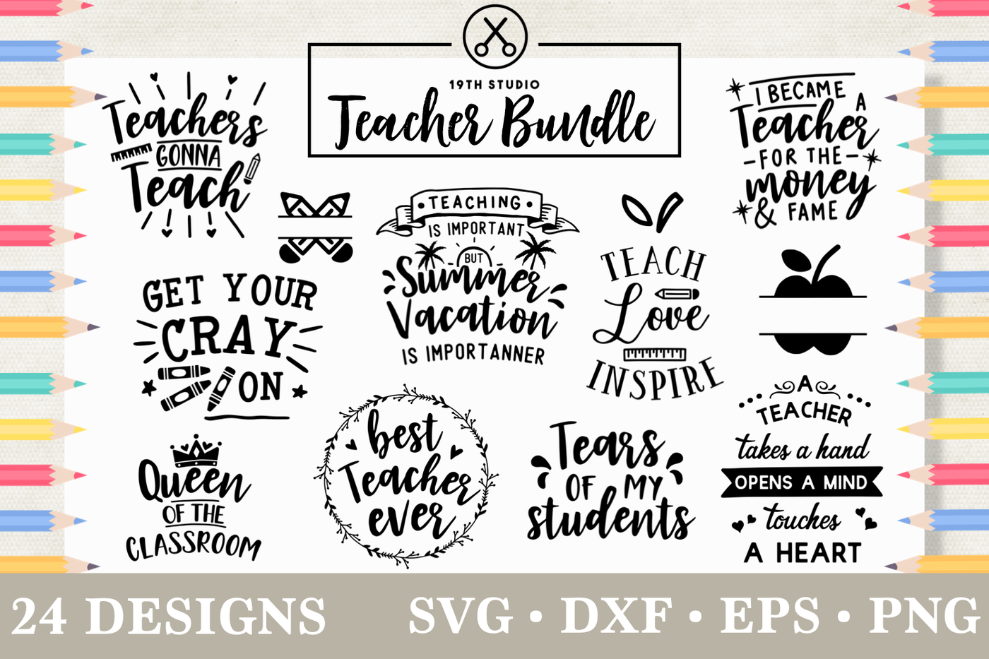Teacher Svg Bundle M5 By 19th Studio Thehungryjpeg Com
