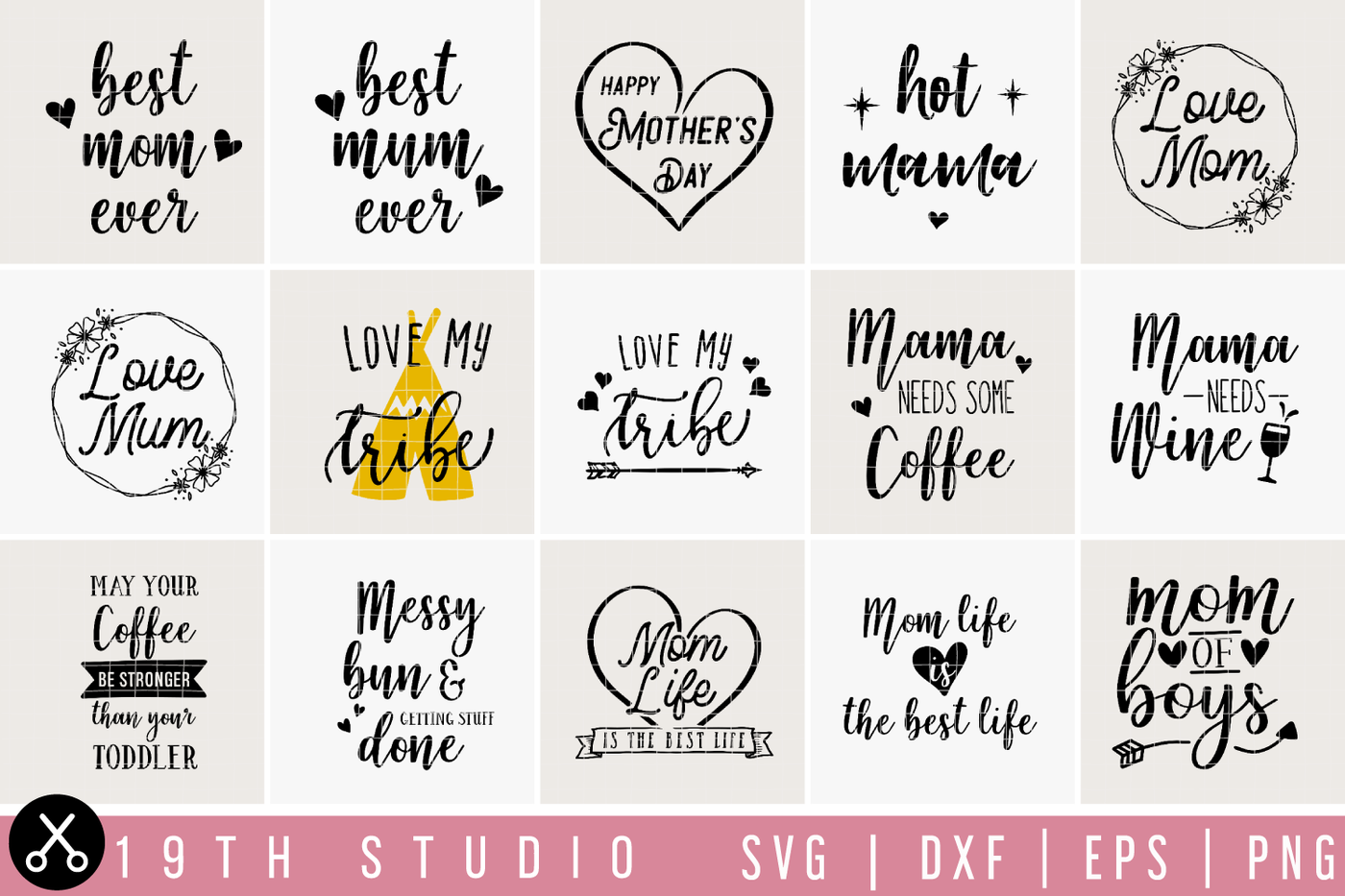 Mom Mum Svg Bundle M23 By 19th Studio Thehungryjpeg Com