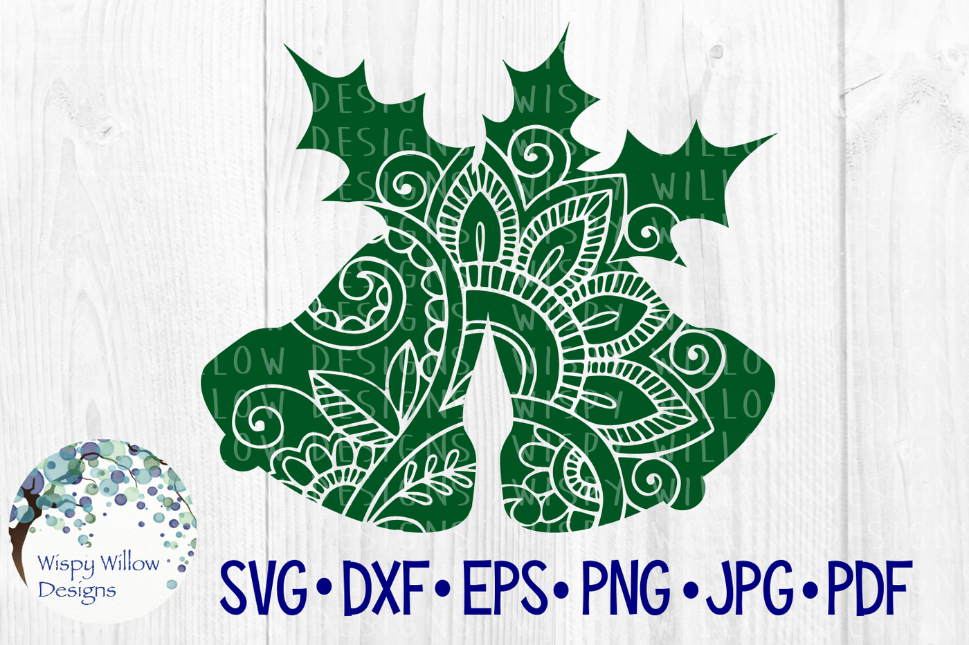 Christmas Bells Holly Holiday Svg Dxf Eps Png Jpg Pdf By Wispy