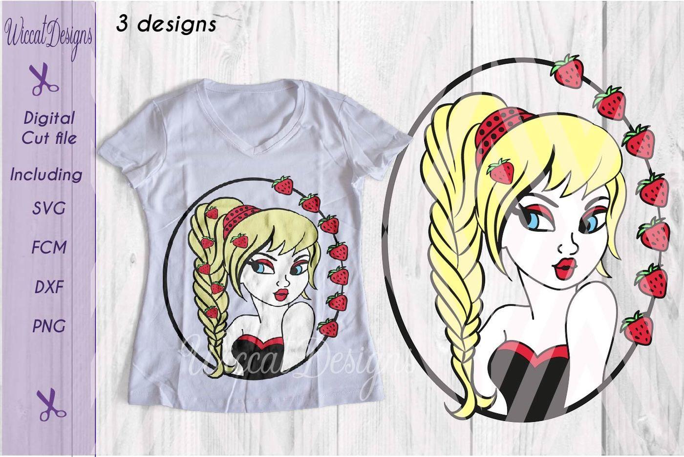 Strawberry girl svg, pin up svg, Cartoon vixen, avatar svg