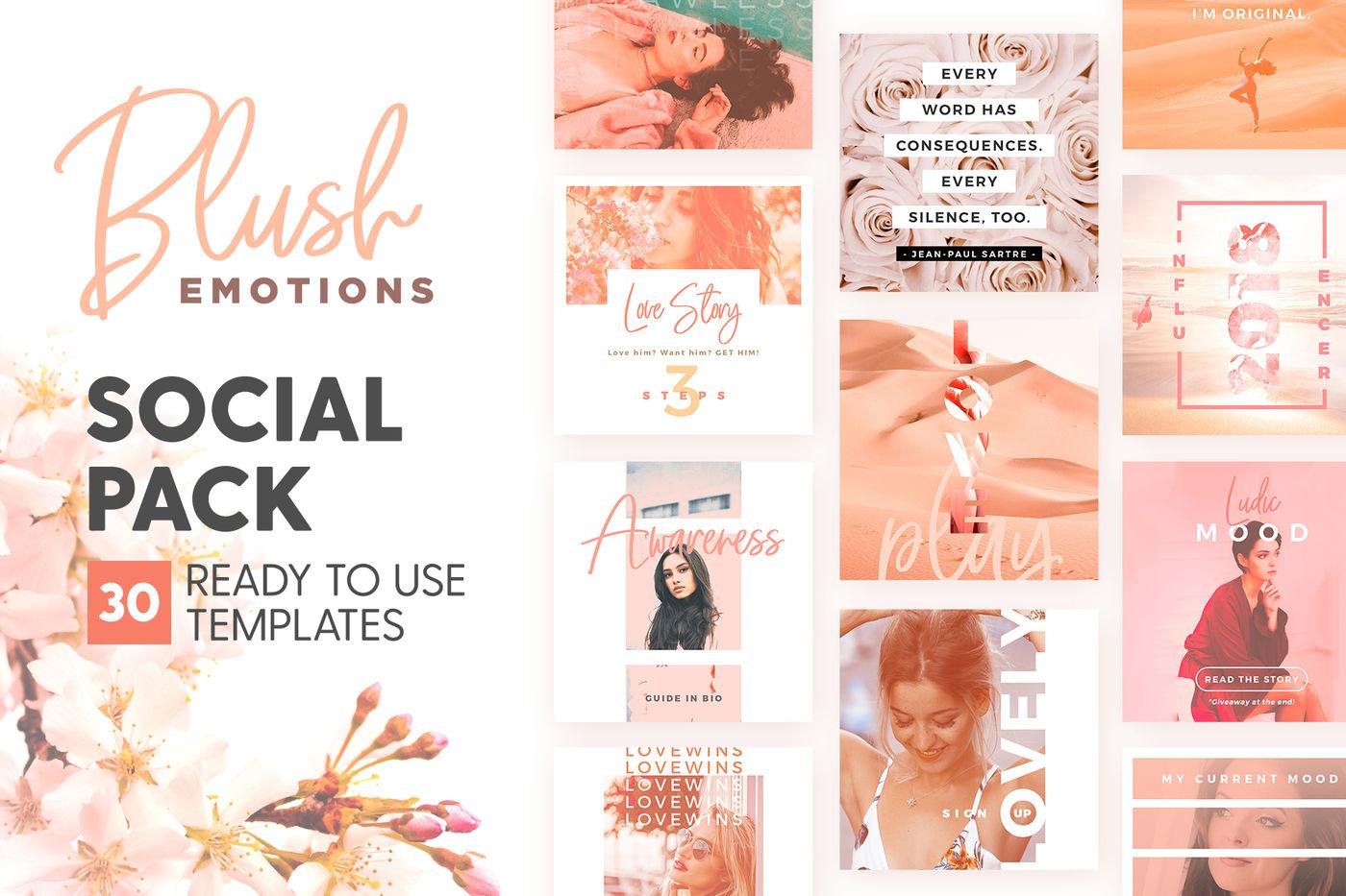 Blush Emotions Social Pack By The Wedding Shop Thehungryjpeg Com