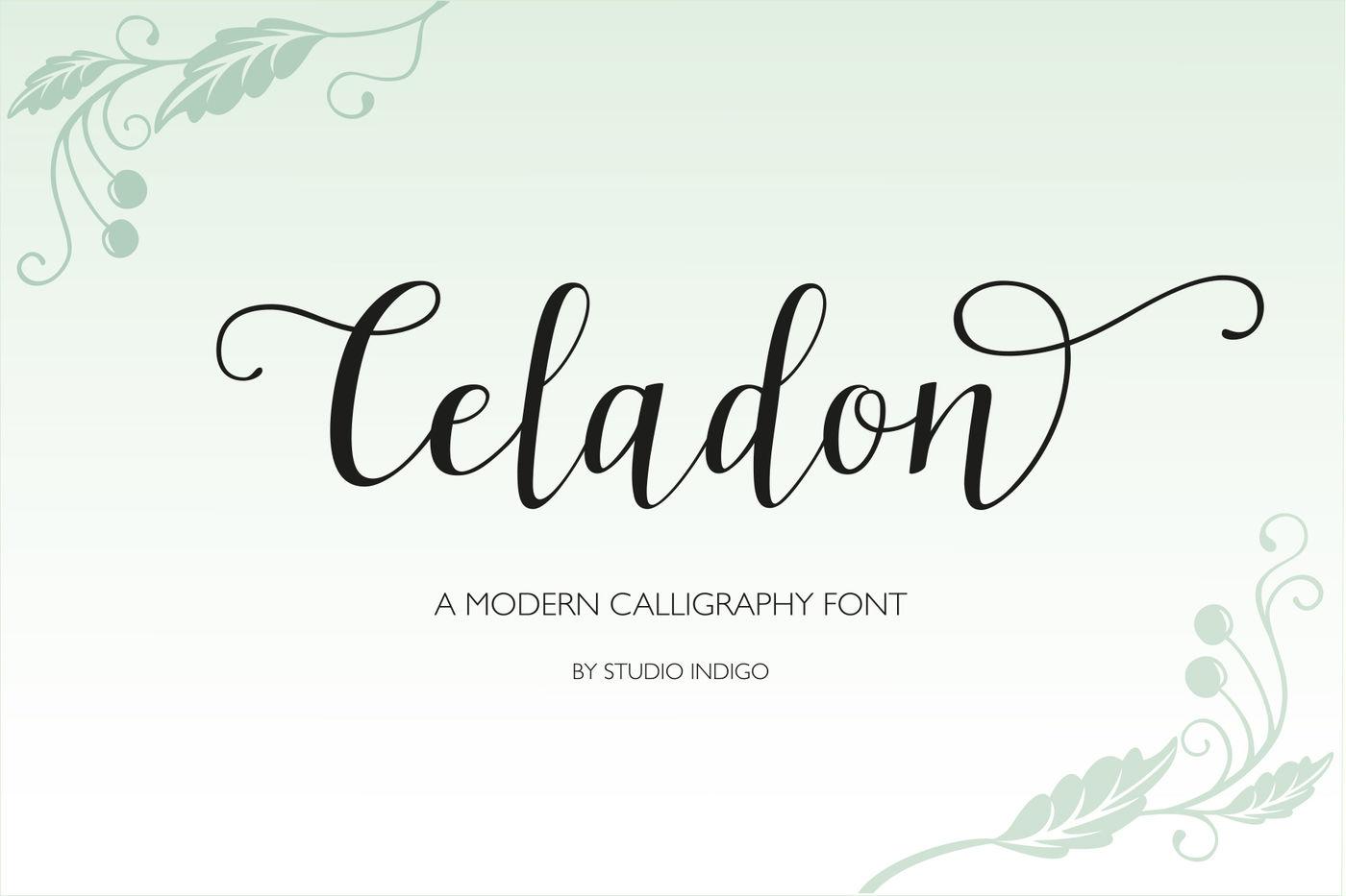Celadon Modern Calligraphy Font By Studio Indigo Thehungryjpeg Com