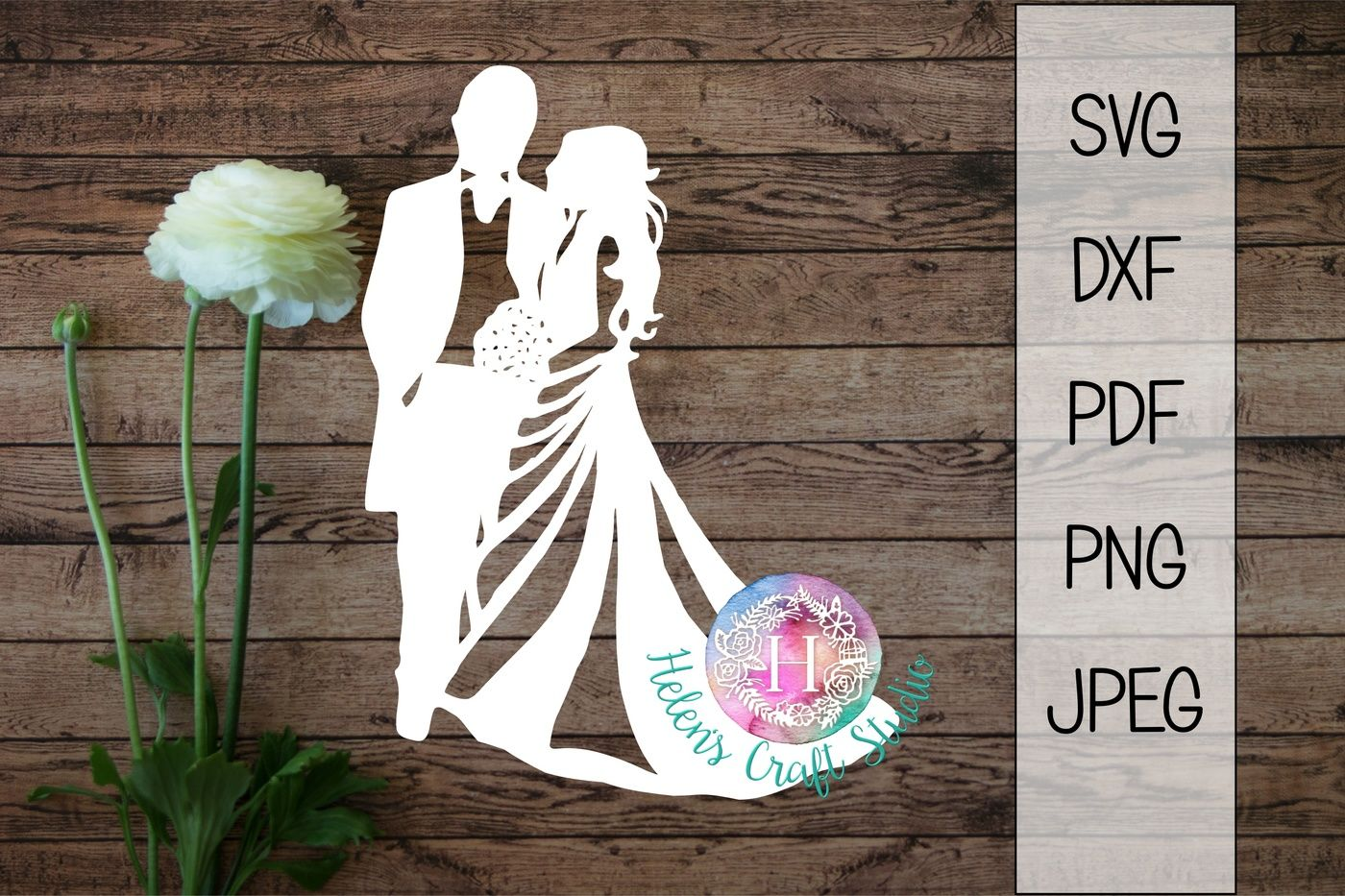 Wedding Couple Silhouette Cutting File Svg Dxf Png By Helens Craft