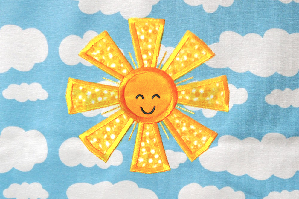 Happy Sun Applique Embroidery By Designed By Geeks