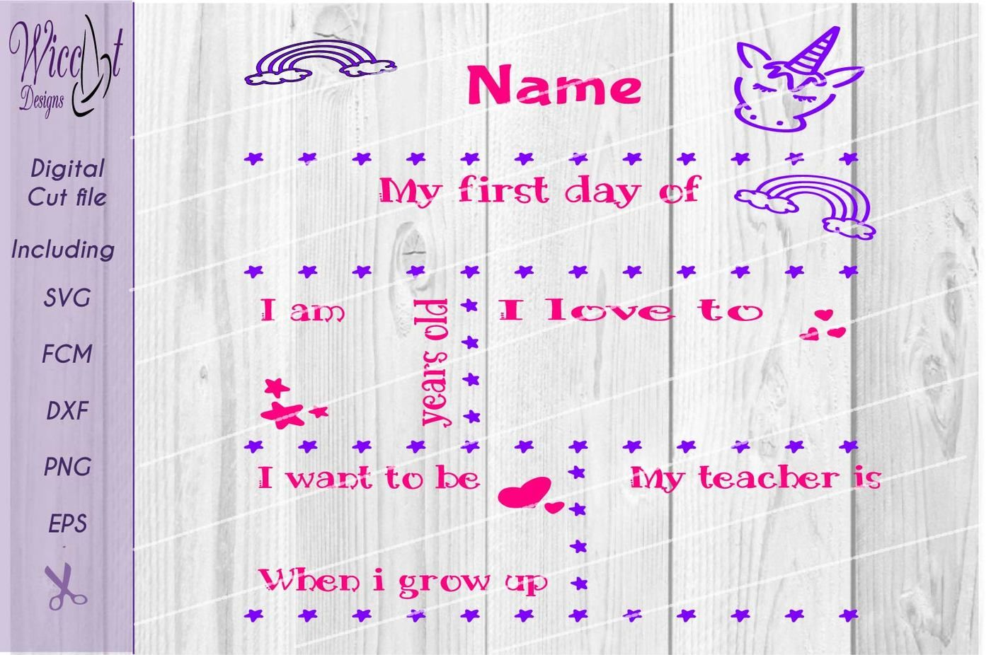 Back To School Unicorn Svg Template Svg First Day Of School