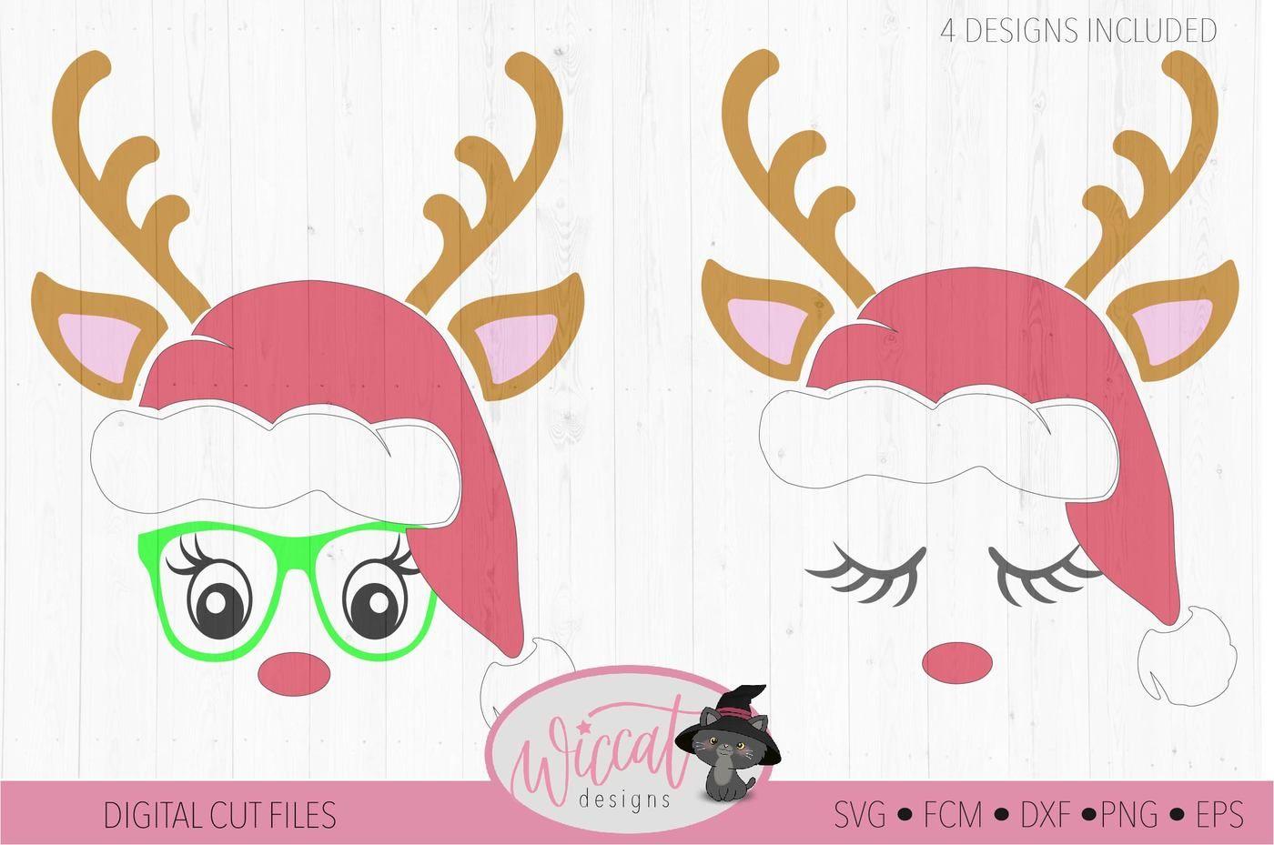 Reindeer Face Svg Hipster Deer Christmas Hat Svg Kids Svg