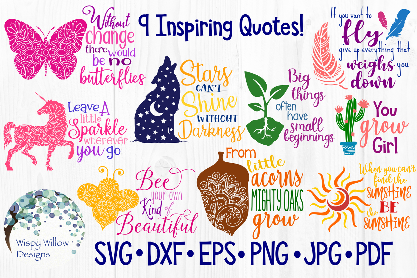 Inspiring Quote Bundle Svg Dxf Eps Png Jpg Pdf By Wispy Willow