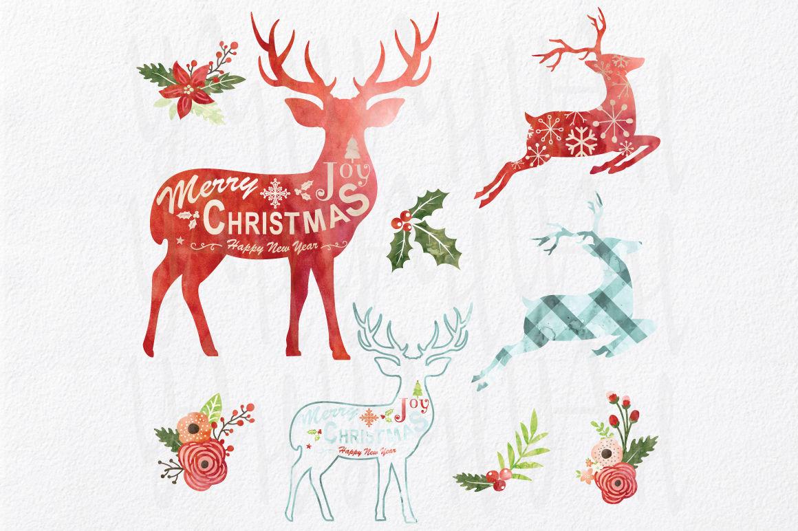 Watercolor Christmas Reindeer Design By Yenzarthaut