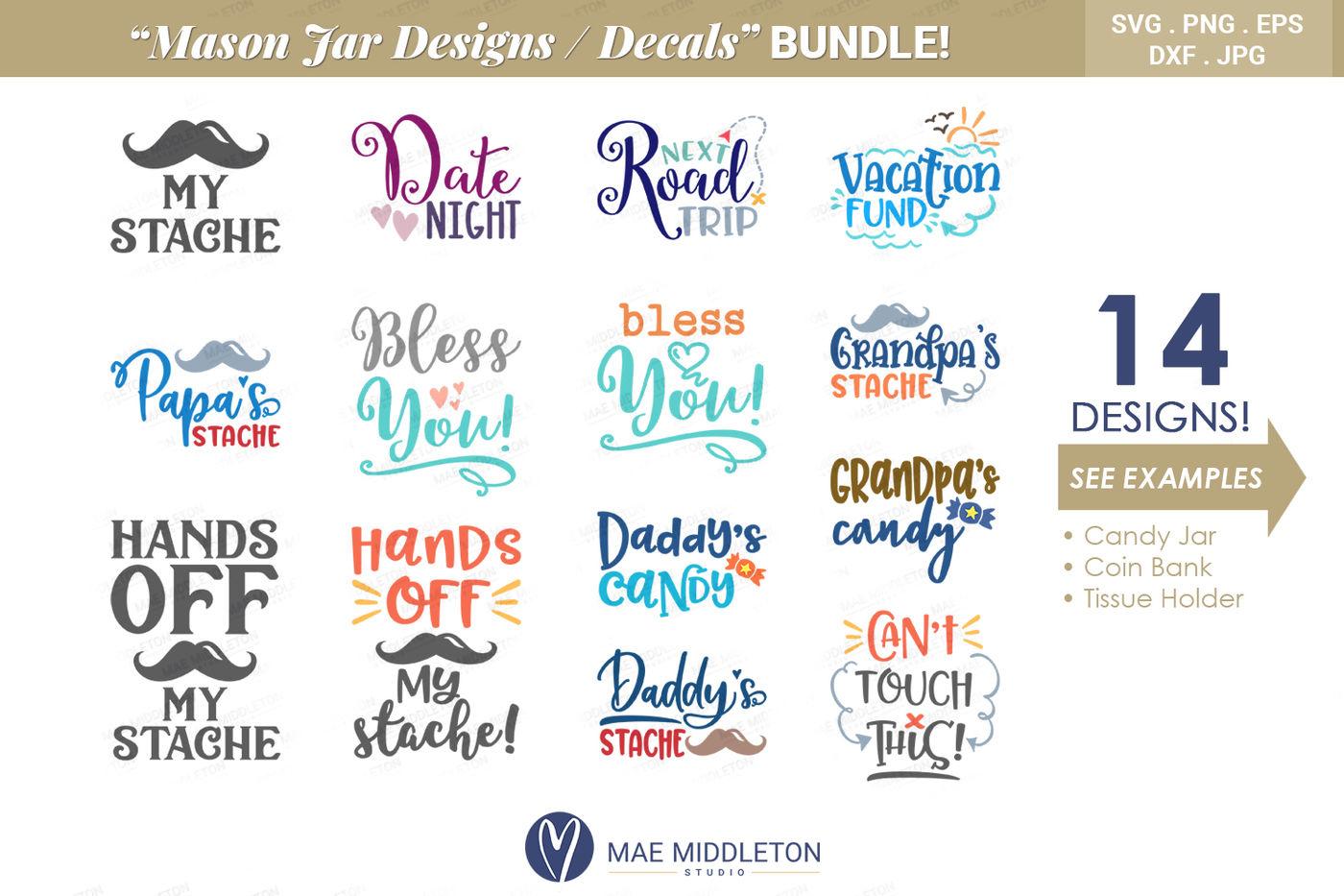 Mason Jar Designs Decals Printable Labels Bundle By Mae