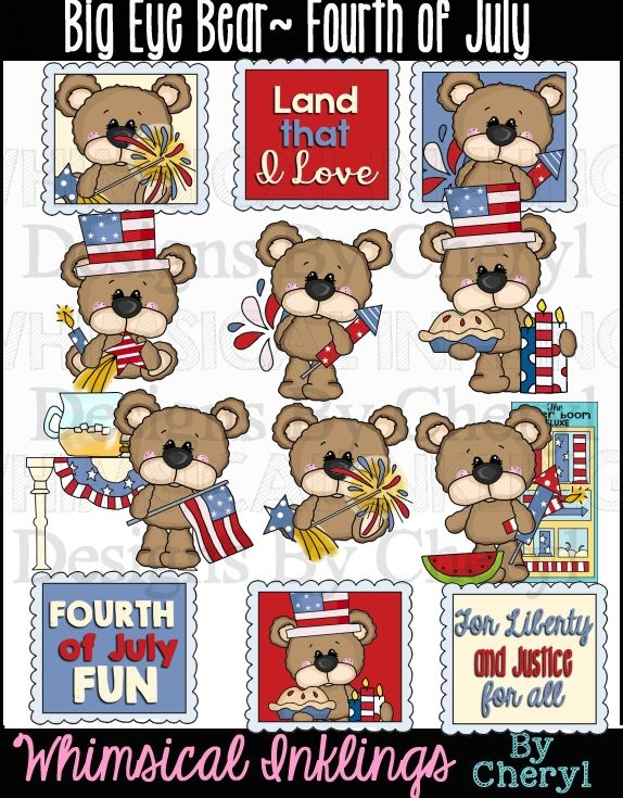 Big Eye Bear Huge Clipart Bundle By Whimsical Inklings