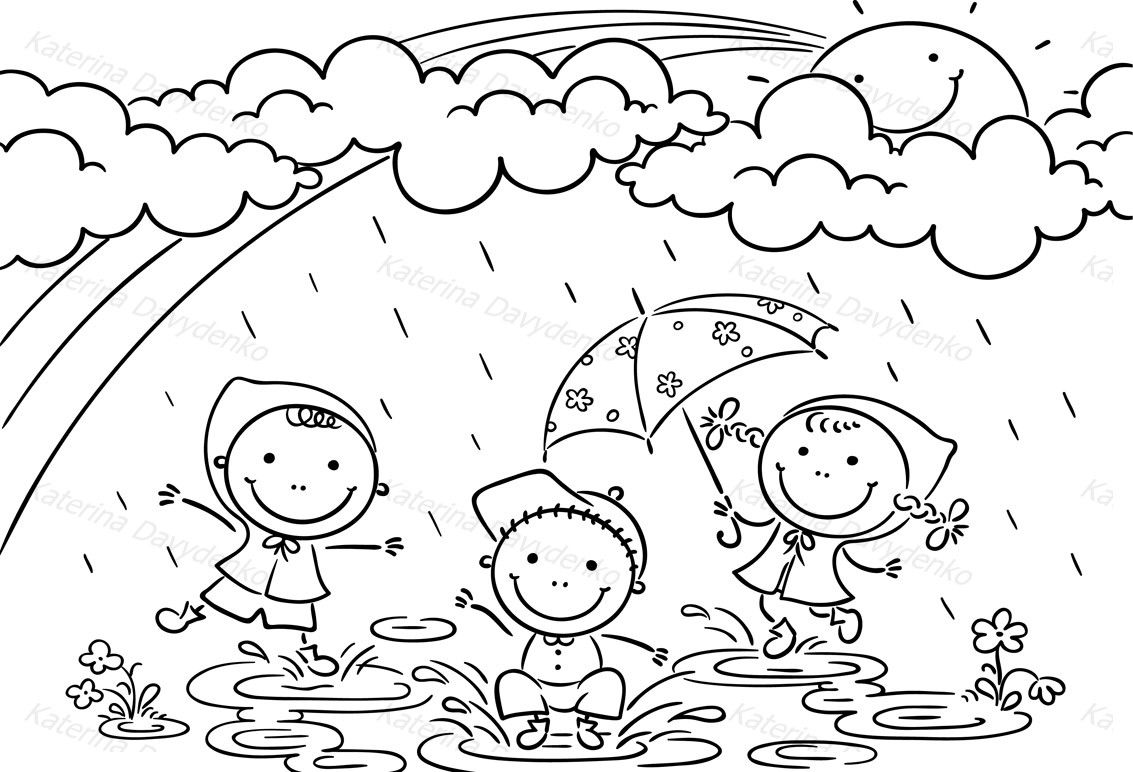 Kids Playing In The Rain By Optimistic Kids Art