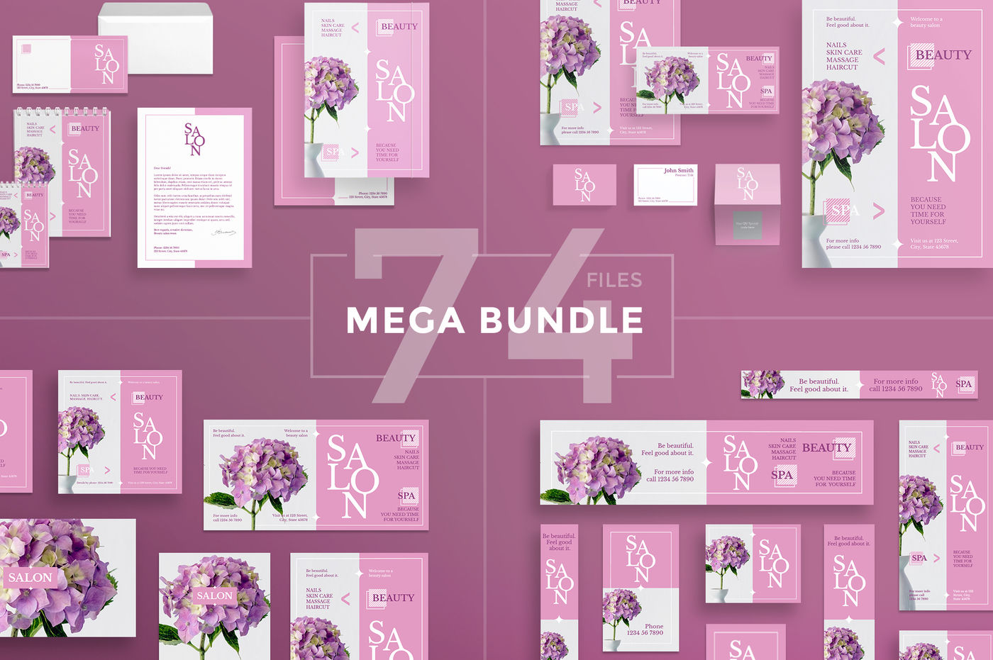 Design Templates Bundle Flyer Banner Branding Beauty Salon By Amber Graphics Thehungryjpeg Com