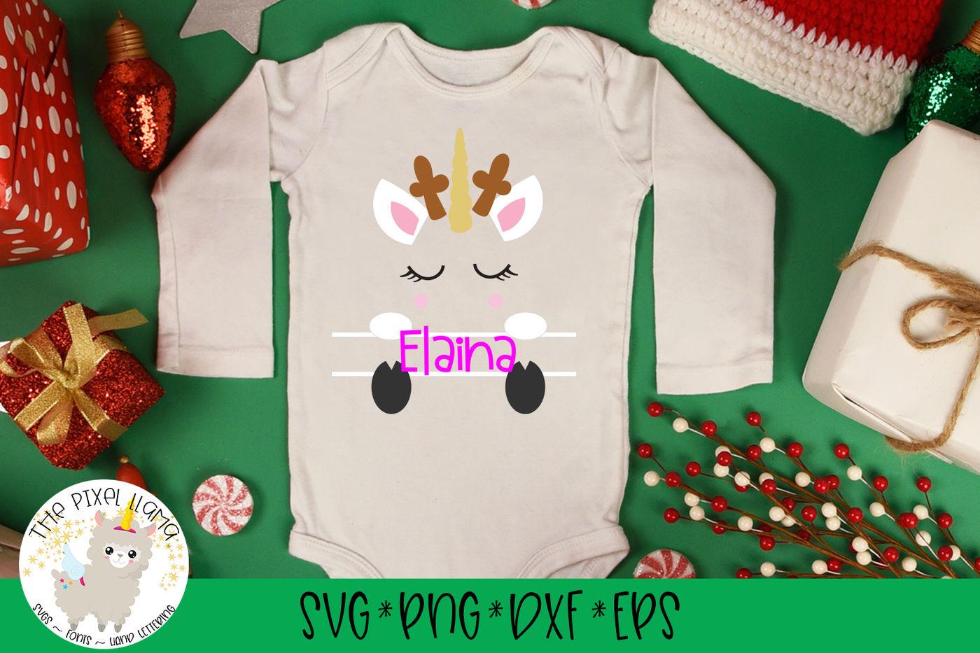 Unicorn Reindeer Christmas Split Monogram Svg Cut File By The