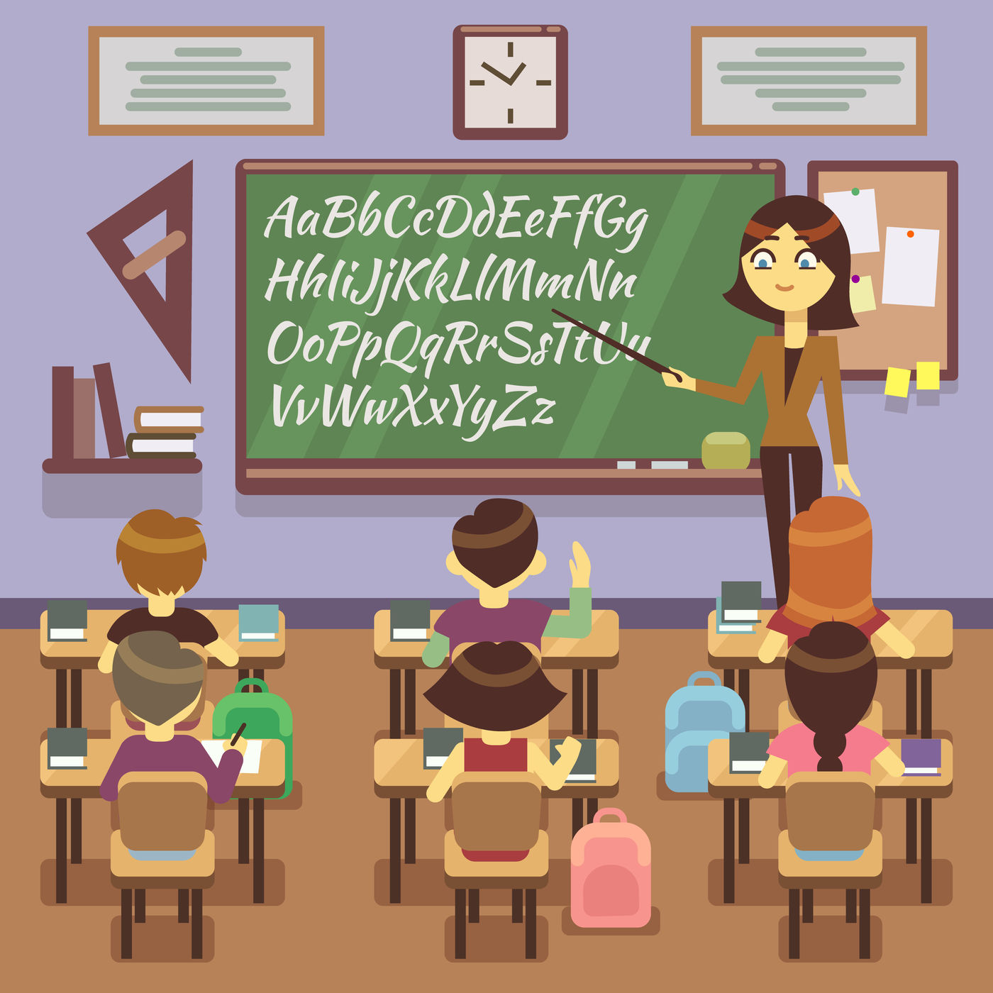 School Lesson In Classroom With Child Pupils And Teachers Vector