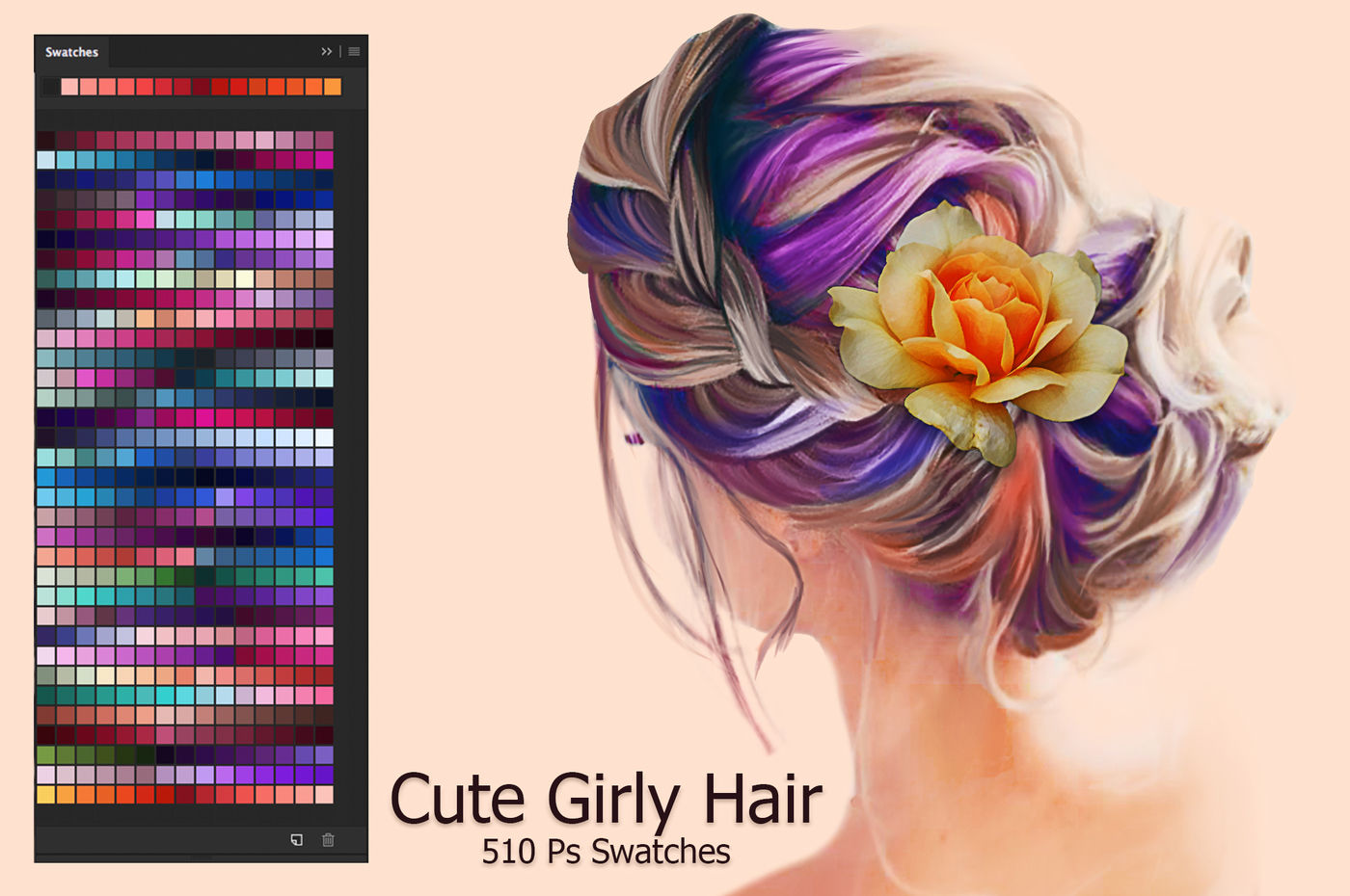 Cute Girly Hair Swatches By FaeryDesign | TheHungryJPEG.com