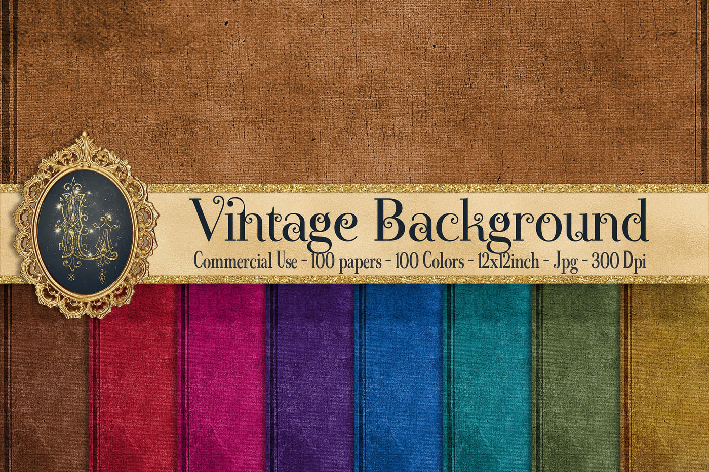 Vintage Background Antique Digital Papers In100 Colors By