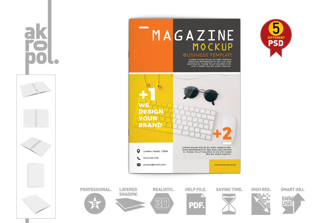 Magazine Mock Up By Akropol Thehungryjpeg Com
