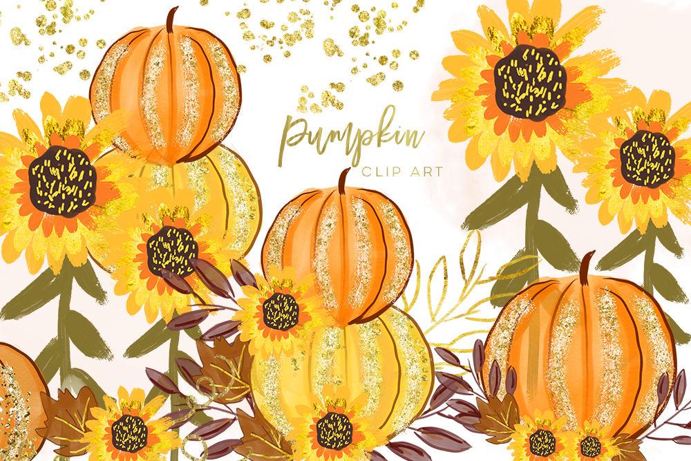 Pumpkin orange watercolor, Separate element, Autumn Fall ...