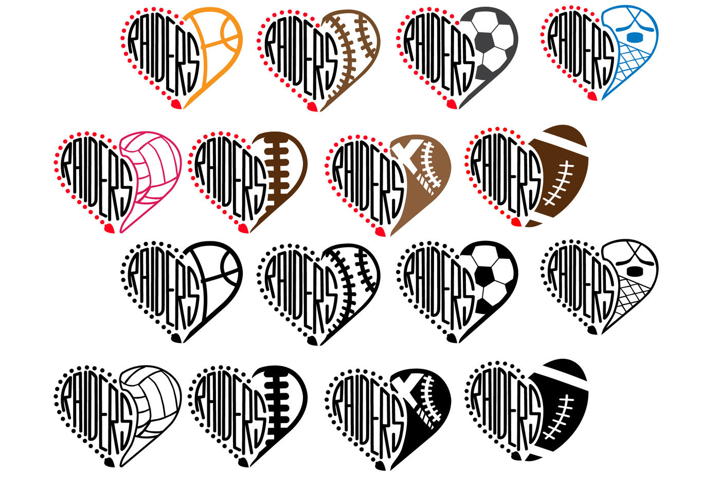 Oakland Raiders Sport Heart Svg High School Mascot Football 932s By Hamhamart Thehungryjpeg Com