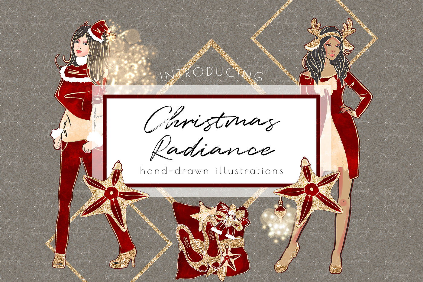 Christmas Clipart Planner Girl Glitter Fashion Illustration By