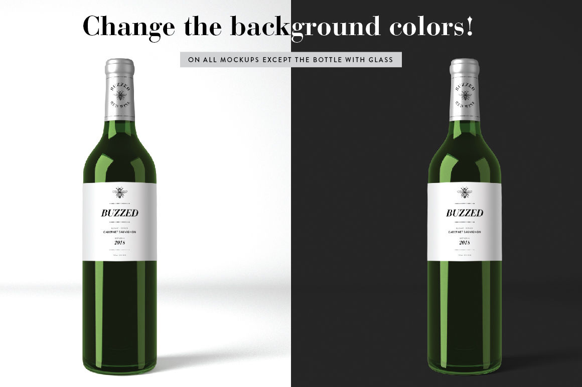 Download Dark Glass Champaign Bottle Mockup Yellowimages