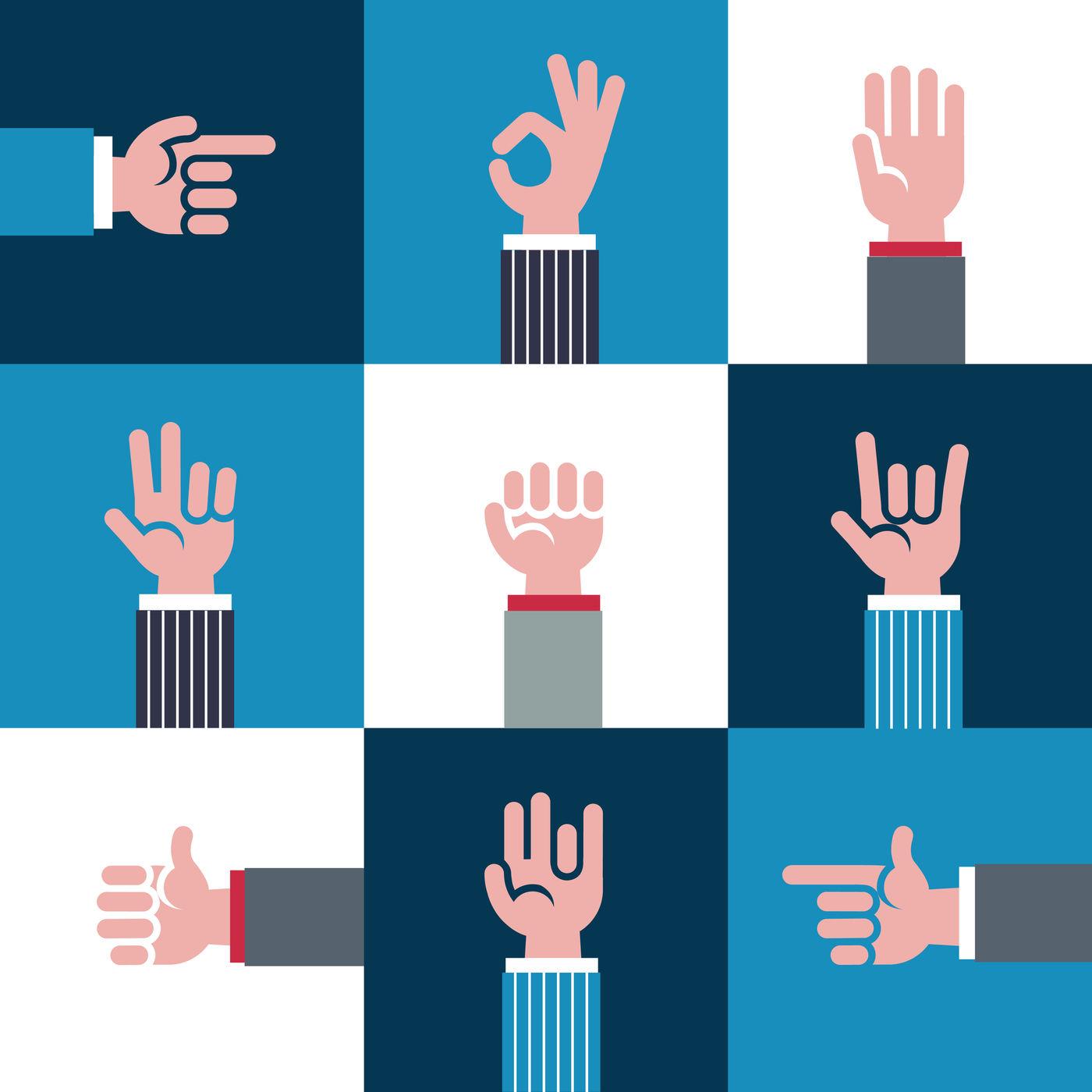 Vector Icons And Symbols Emoji Different Hands Gestures Signals