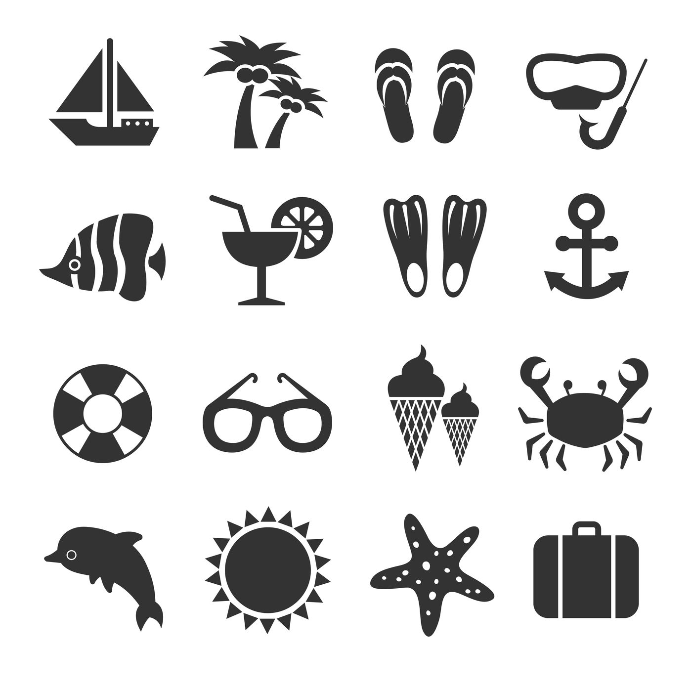 Summer Vacation Sea Beach Relax Vector Icons By Microvector
