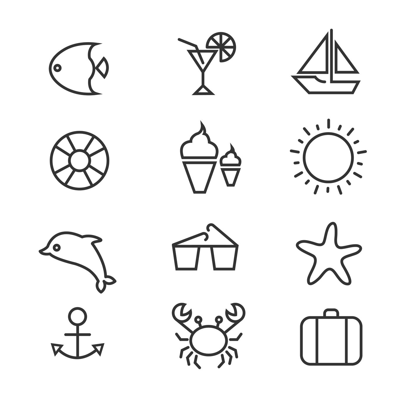 Summer Holiday Tropical Beach Thin Line Vector Icons By