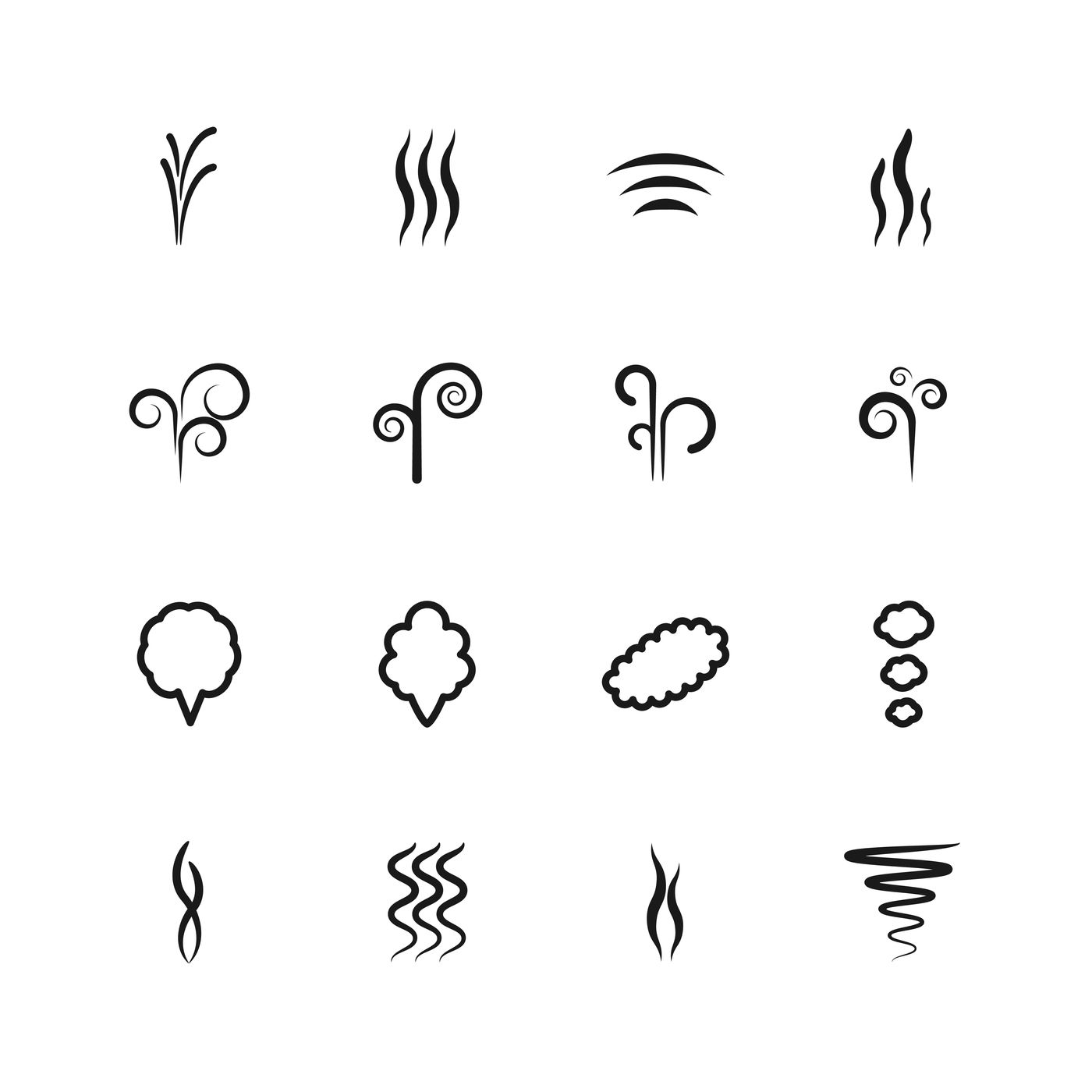 Smoke Vector Icons Set By Microvector Thehungryjpeg Com
