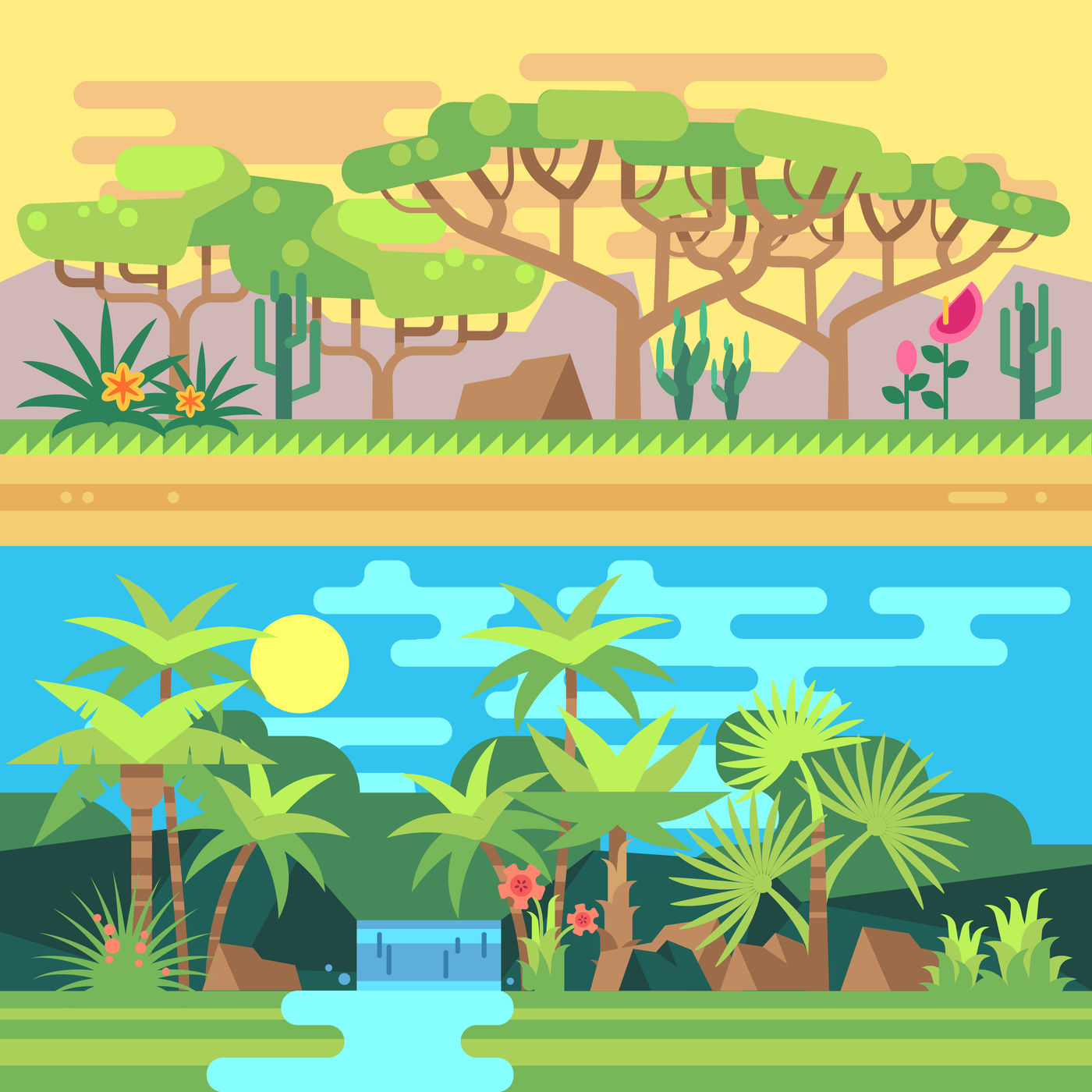 Tropical Forest Landscapes Vector Flat Illustration By Microvector