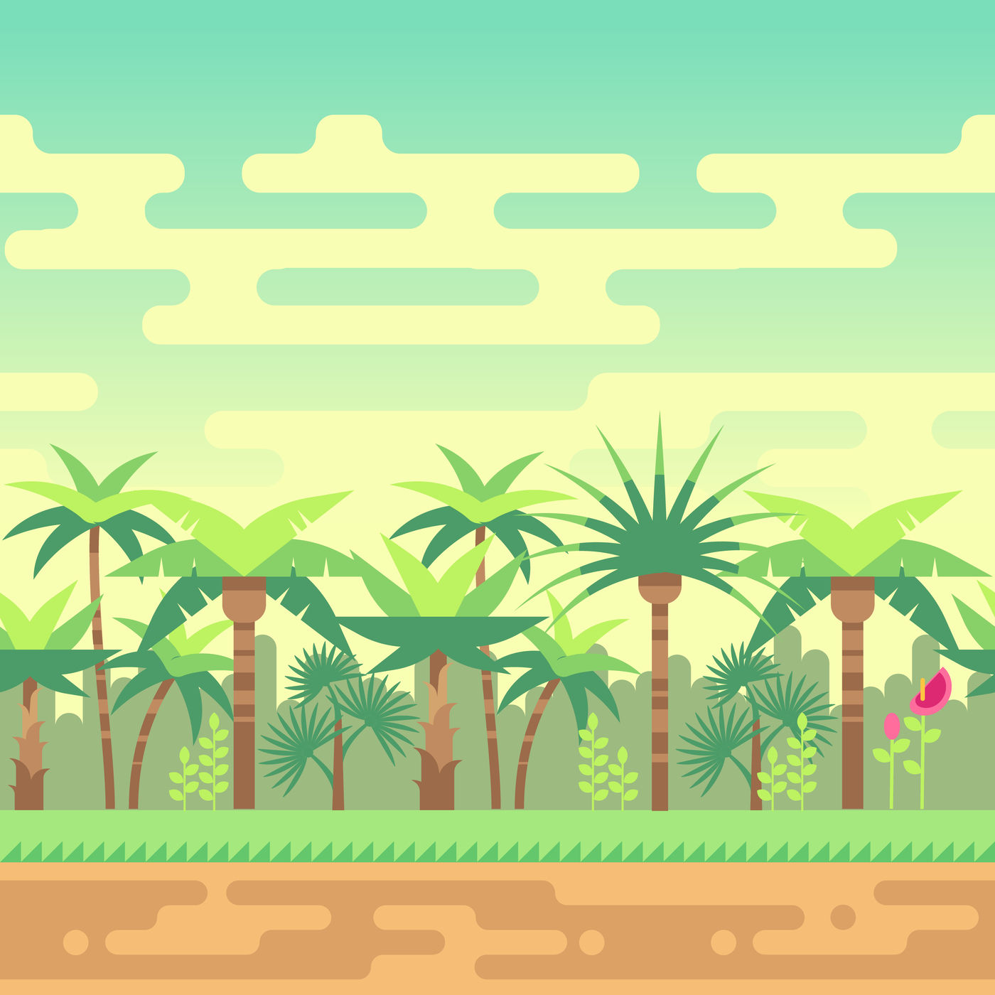 Seamless Summer Tropical Forest Nature Landscape Vector