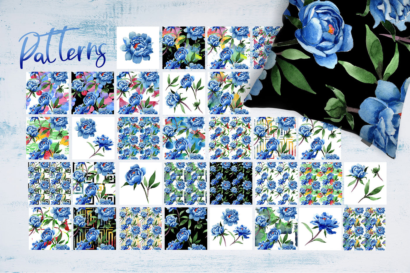 Cool Blue Peonies Png Watercolor Flower Set By Mystocks Thehungryjpeg Com