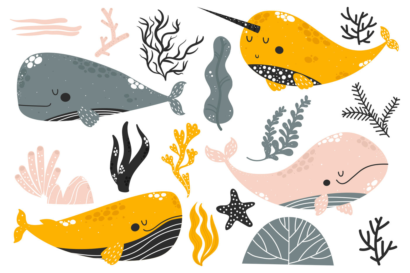 Whales - Cute Characters By Misky   TheHungryJPEG.com