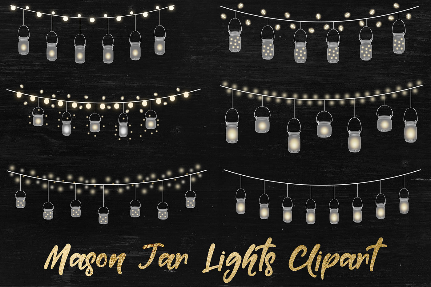 String Lights Clipart Mason Jar Lights Overlays By North Sea