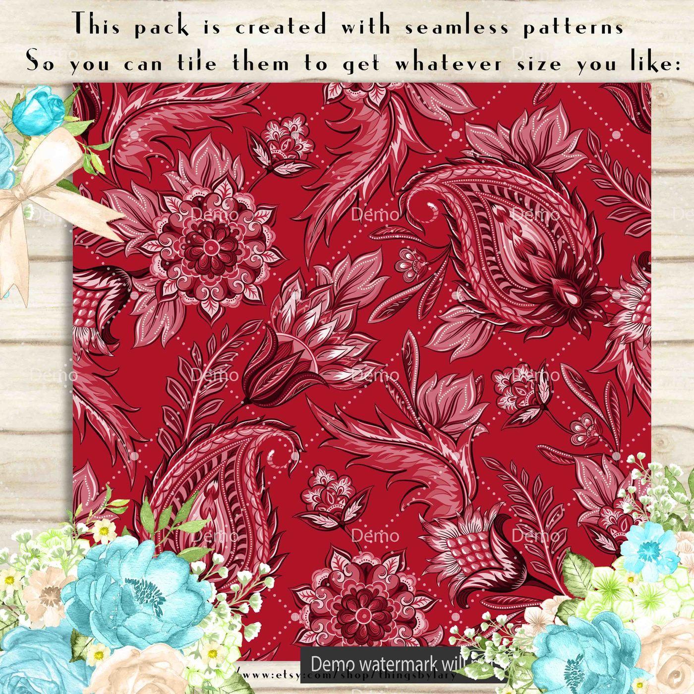 100 Seamless Floral Paisley Digital Paper 12 X 12 Inch By Artinsider Thehungryjpeg Com