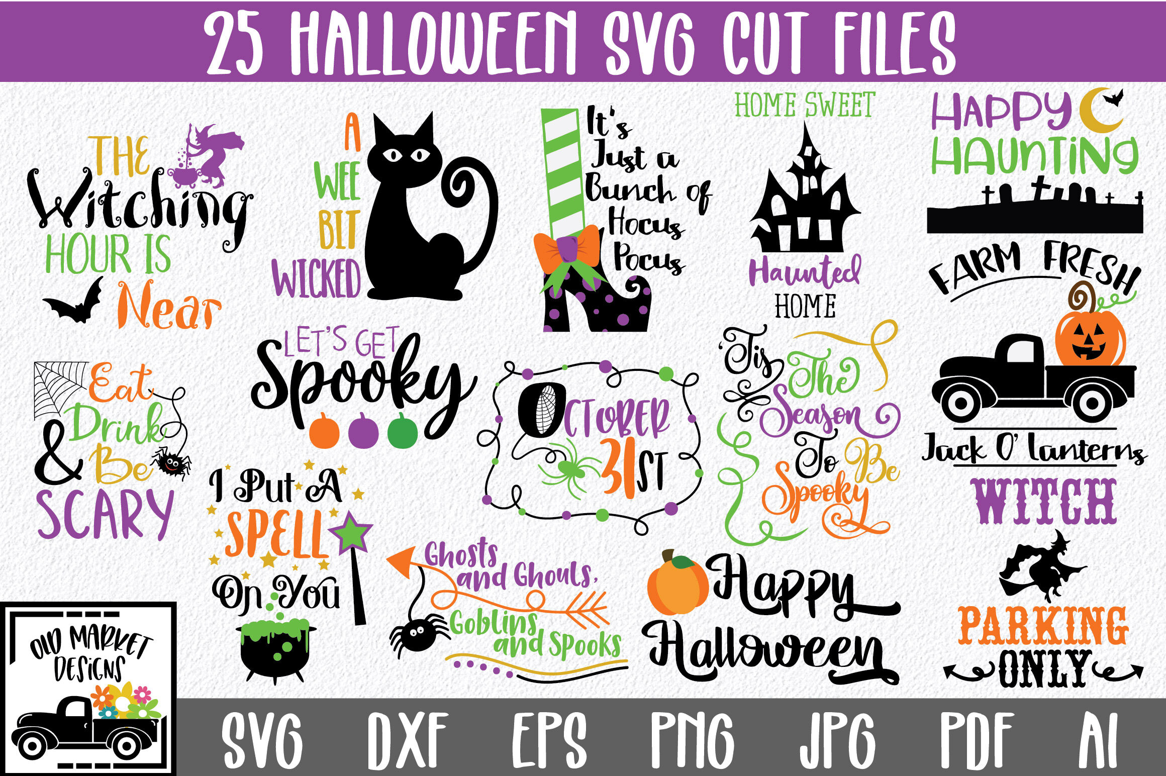 Halloween Bundle With 25 Svg Png Dxf Eps Ai Jpg Cut Files By Shannon Keyser Thehungryjpeg Com
