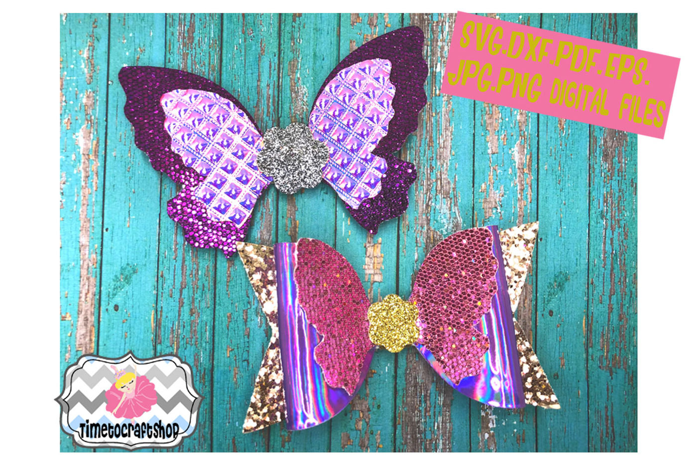 Butterfly Hair Bow Template Svg Dxf Pdf Eps Jpg Png By