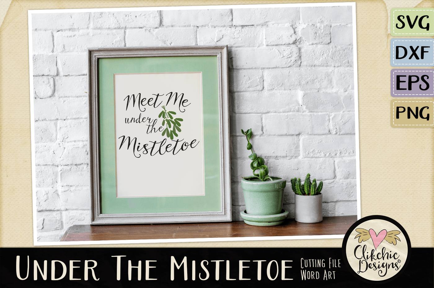 Under The Mistletoe Vector Svg Clipart By Clikchic Designs