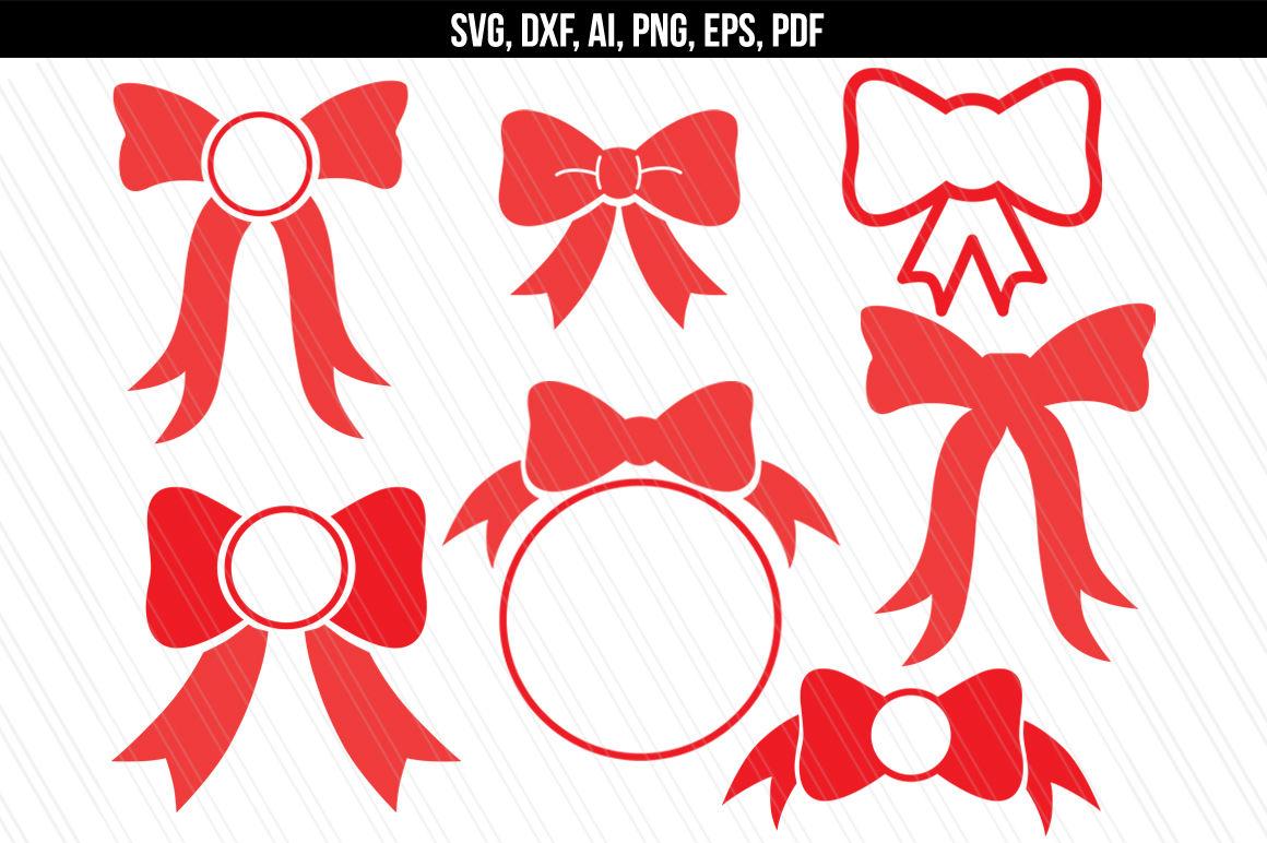 Bow Svg Bow Monogram Eps Dxf Ai Svg Pdf Png By Aivosdesigns