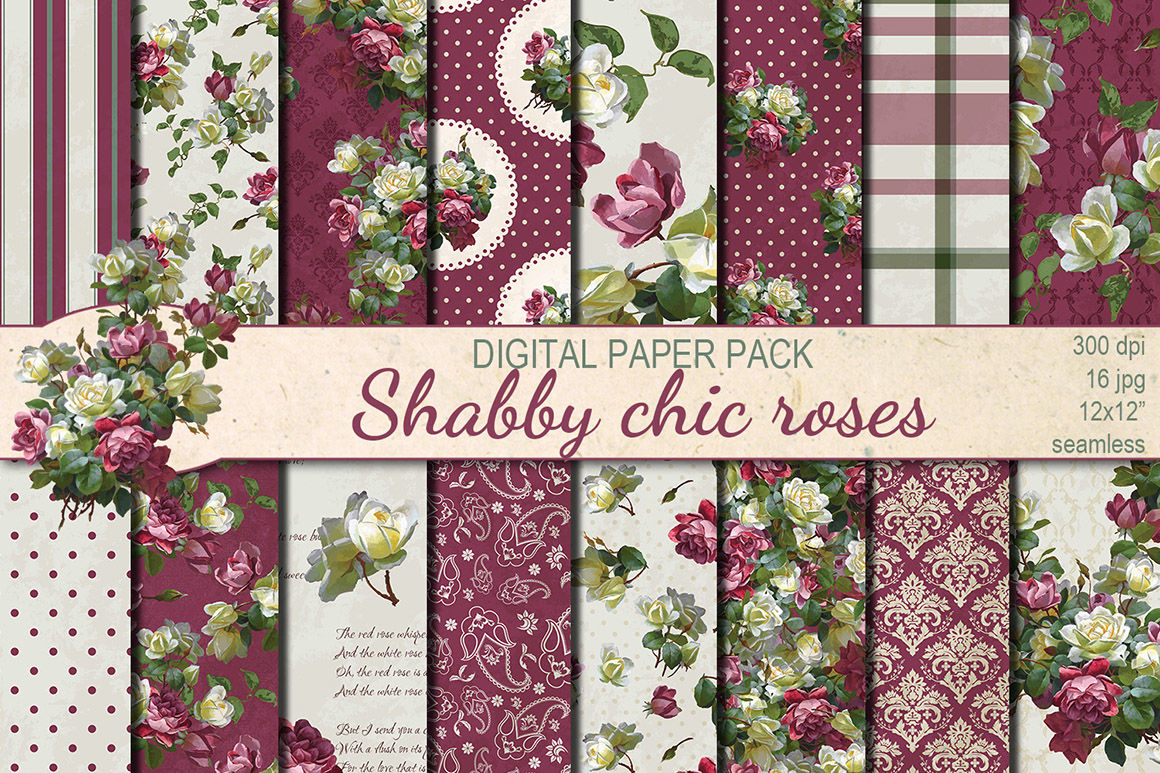 Shabby Chic Roses Seamless Pattern By Dolly Potterson