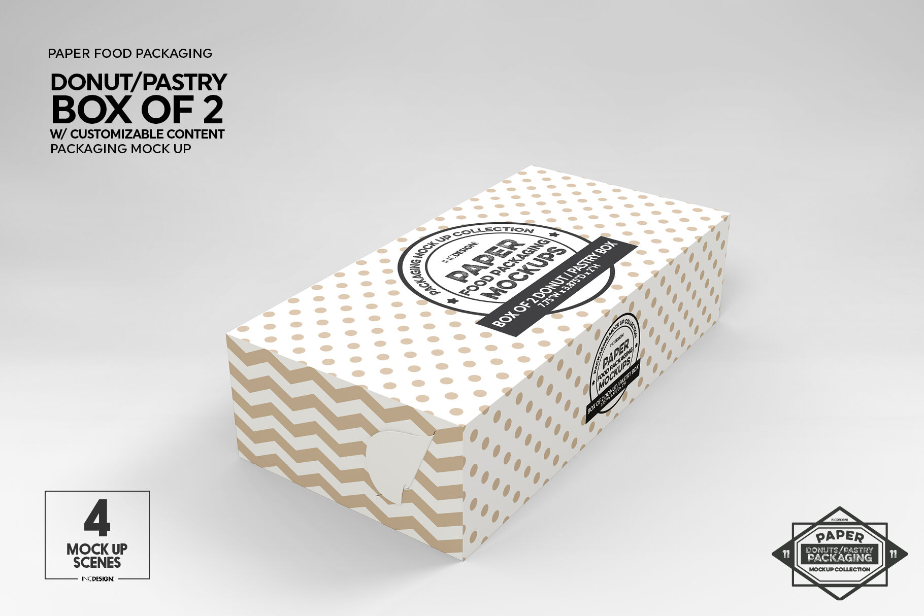 Box of Two Donut Pastry Box Mockup By INC Design Studio