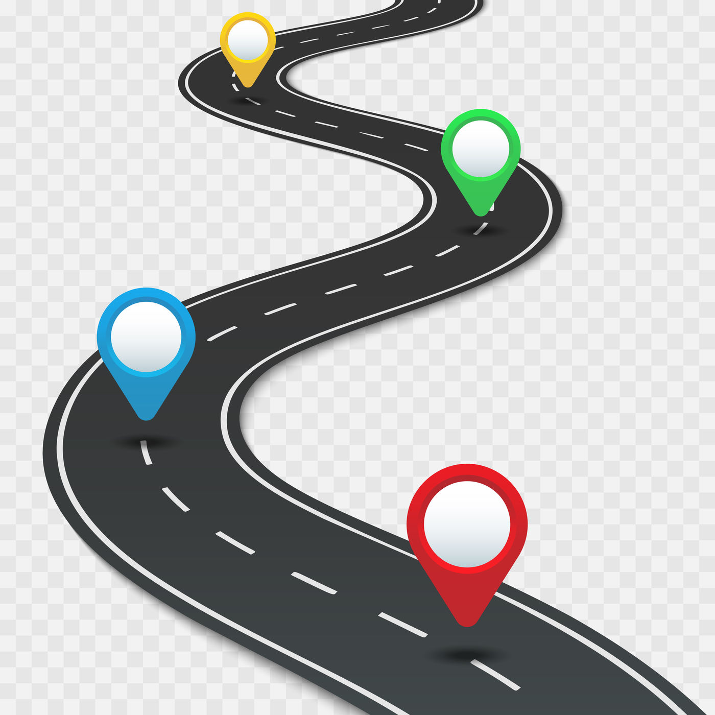Highway roadmap with pins. Car road direction, gps route ...